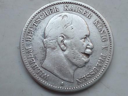 Германская империя ,Пруссия. 2 марки 1877 года, А Вильгельм 1. Серебро.оригинал.. Запорожье, Запорожская область. фото 3