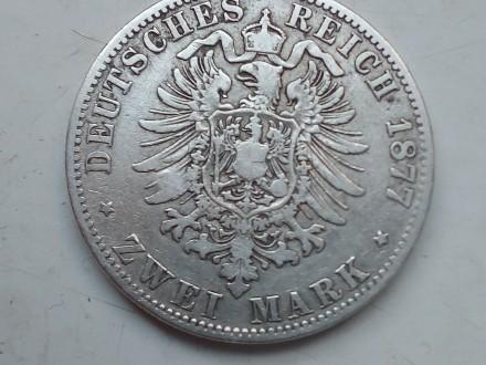 Германская империя ,Пруссия. 2 марки 1877 года, А Вильгельм 1. Серебро.оригинал.. Запорожье, Запорожская область. фото 4