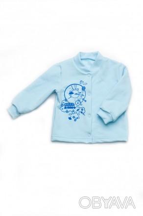 Кофточка для новорожденного из однотонного футера. Воротник - стойка, застежка п. Днепр, Днепропетровская область. фото 1