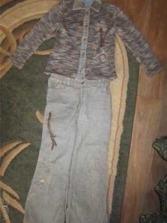 Костюм для девочки длина рукава(вязанные)-46 см,длина кофты-50 см,длина брюк-79 . Конотоп, Сумская область. фото 1