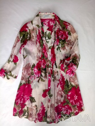 Легкая блуза рубашка туника в пионы