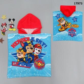 Махровое полотенце-пончо с капюшоном Paw Patrol для мальчика. Ніжин. фото 1