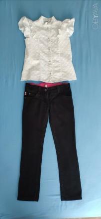 Фирменные черные брюки - джинсы, отлично в школу. Київ. фото 1