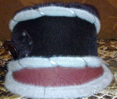 Шапка. Мех под нерпу.  Цвет бордовый.  Стилизованая камнем и пайотками.  Можно н. Днепр, Днепропетровская область. фото 1