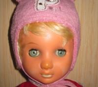 Розовая теплая шапочка для девочки.  Мягкая махра сверху, внутри х/б подкладка,. Киев, Киевская область. фото 3