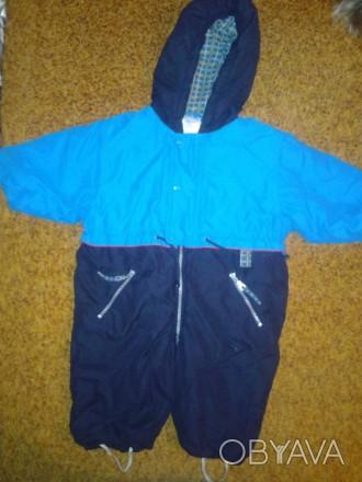 Детский комбинезон для мальчика, темно-синий с голубыми вставками, осень -весна,. Черкассы, Черкасская область. фото 1