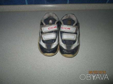 Продам недорого детские кроссовочки синего цвета, кожаные. подойдут как на девоч. Каменское, Днепропетровская область. фото 1