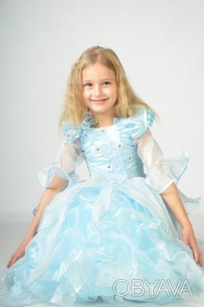 Голубое красивое платье. Принцесса Золушка на возраст 3-7 лет.  Платье на брит. Харьков, Харьковская область. фото 1