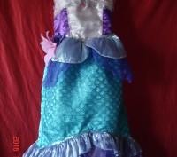 Продам очень красивое платье Русалочки Ариель для девочки 4-6лет Disney оригинал. Черкаси, Черкаська область. фото 2