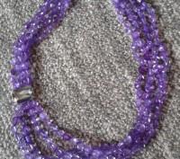 Модное ожерелье Пурпурный каскад,Ожерелье состоит из нескольких нитей бусин в ви. Бердянск, Запорожская область. фото 3