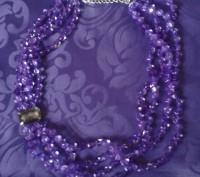Модное ожерелье Пурпурный каскад,Ожерелье состоит из нескольких нитей бусин в ви. Бердянск, Запорожская область. фото 4