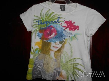 1) белая футболка на 3 года,с рисунком,ZARA KIDS,цена-45гр. длина-32см. ш.плеч. Киев, Киевская область. фото 1