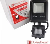 LED прожектор с датчиком движения 10W IP65 ElectroHouse EH-LP-211. Киев. фото 1