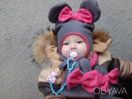 Распродажа!!!Всего 170 грн!!!Милые,мягусенькие,тёпленькие шапочки с шарфиком для. Мелитополь, Запорожская область. фото 1