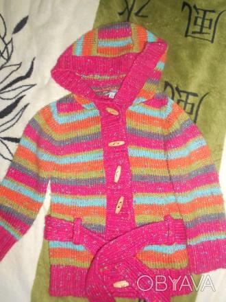 Шикарный вязаный кардиган для девочки 3-4 года (большемерит). Состояние отличное. Никополь, Днепропетровская область. фото 1