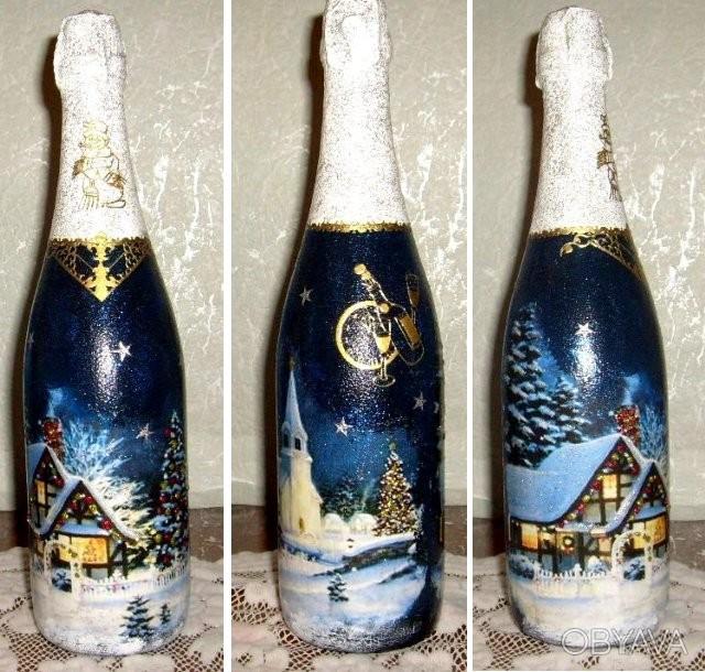 Декупаж на бутылки с шампанским
