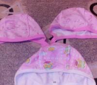 Набор шапочек с начесом,подойдут на девочку от 0 до 3 месяцев.Цена указана за 3 . Бровары, Киевская область. фото 2