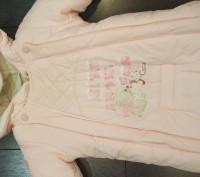 Нежно-розовый конверт для девочки, с рукавами, на овчине. Мелитополь, Запорожская область. фото 4