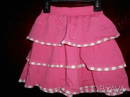 Розовая в оборку юбка,на 4 года ,в отличном состоянии,куплена в США замеры:длин. Киев, Киевская область. фото 1