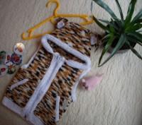 Продам весёлую жилетку с капюшоном и ушками для малыша на 3-6 мес. Авторская руч. Чернигов, Черниговская область. фото 2