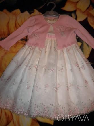Красивое платье с подъюбниками и вышивкой лентами ,розочки с кофточкой на 1-3 го. Черкаси, Черкаська область. фото 1