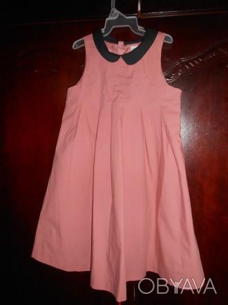1) коралловое платье на 4-5 лет,с черным воротничком,на спинке застежка,в боково. Киев, Киевская область. фото 1
