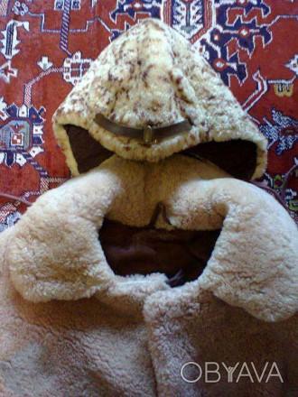 Шубка из овчины для ребёнка 3-6 лет, очень тёплая. Шапка из овчины в подарок.. Кременчуг, Полтавская область. фото 1