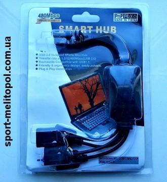 F03088-5 высокоскоростной Micro Mini 4 порта USB 2.0 USB хаб представляет собо. Мелитополь, Запорожская область. фото 4