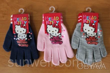 Перчатки для девочек Hello kitty ТМ Sun City, Размер: 16см Состав: 82% acrylic. Киев, Киевская область. фото 1