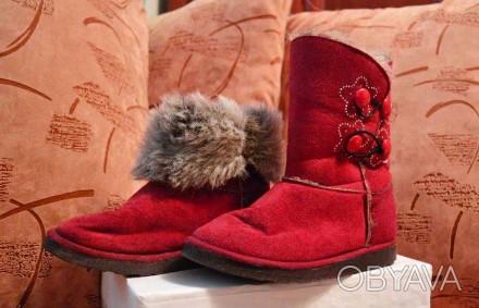 """Детские угги """"INBLU"""" темно красного цвета для осенне-зимнего периода. Материал в. Полтава, Полтавская область. фото 1"""