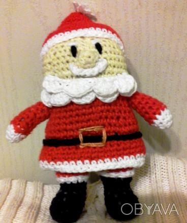 Дед Мороз,связанный крючком из хлопка-прекрасный подарок к Новому Году,длина-15с. Черкаси, Черкаська область. фото 1