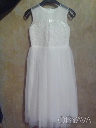 Продам детское нарядное платье, новое. Размер34, рост128, цвет айвори. Ручная вы. Полтава, Полтавская область. фото 1