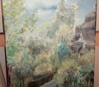 Картина 30х40. Масло. Пейзаж с водопадом. Сай М.. Каменское. фото 1