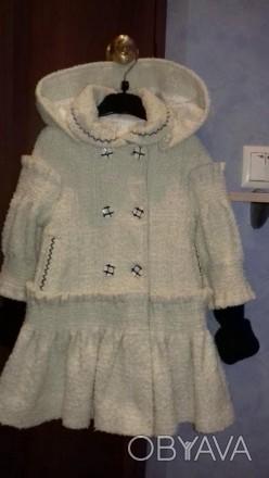Красивое ВЕСНА-ОСЕНЬ пальто для девочки с капюшоном и беретом.К капюшону связали. Полтава, Полтавская область. фото 1