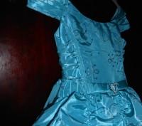 нарядное голубое платье в пол,на8 лет,на подкладке,по спинке молния,по бокам утя. Киев, Киевская область. фото 5