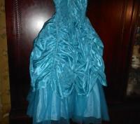нарядное голубое платье в пол,на8 лет,на подкладке,по спинке молния,по бокам утя. Киев, Киевская область. фото 6