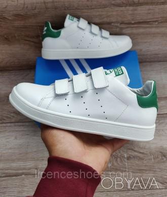 Женские кроссовки Adidas Stan Smith White Green. ЛИПУЧКА. Натуральная кожа 35 -