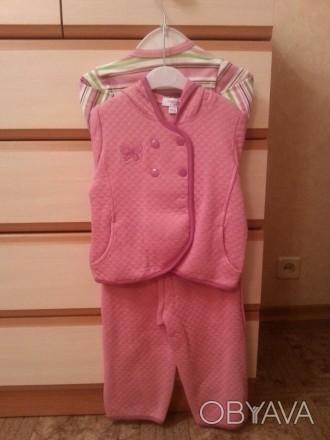 Костюмчик троечка для девочки утепленный. Новый.    Курточка с капюшоном, спинка. Кременчуг, Полтавская область. фото 1