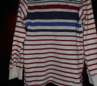 1)Полосатая футболка на 2 г.,рост 92 см.,спинка длиннее переда,в хорошем состоян. Киев, Киевская область. фото 3
