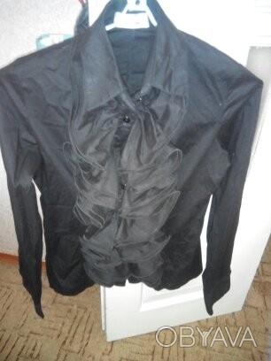 симпатичная рубашка,хлопок, воланы , широкий манжет на 2 пуговицы, размер 44 , н. Черкассы, Черкасская область. фото 1
