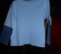 1) серая футболка с синими рукавами, на 18-24 мес.,на плече застежка (кнопки),MI. Киев, Киевская область. фото 5
