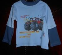 1) серая футболка с синими рукавами, на 18-24 мес.,на плече застежка (кнопки),MI. Киев, Киевская область. фото 4