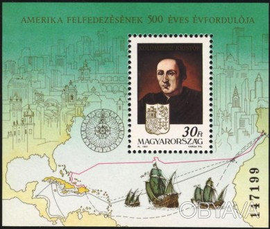 Венгрия - 500 лет открытию Америки   1991 г.в. Michel : Bl.217. Scott : 3319. MN. Одесса, Одесская область. фото 1