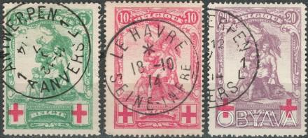 Бельгия   1914 г.в. Sc# B28-B30  USED, F/VF  Полная серия   . Одесса, Одесская область. фото 1