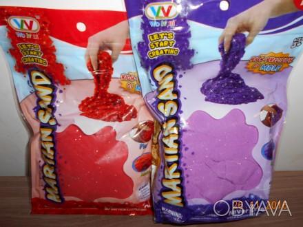 Кинетический песок с блеском 0,5 кг , в наличии фиолетовый.Есть пасочки 6 штук-1. Миргород, Полтавская область. фото 1