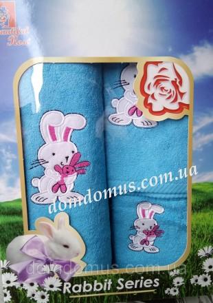 Подарочный набор детских махровых полотенец с оригинальным рисунком в виде зайчи. Одеса, Одесская область. фото 2