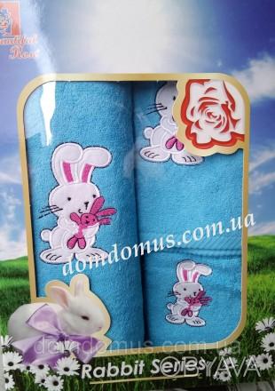 Подарочный набор детских махровых полотенец с оригинальным рисунком в виде зайчи. Одеса, Одесская область. фото 1