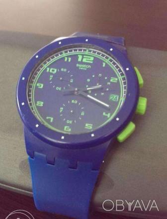 Швейцарский хронограф Swatch Chrono Plastic BLUE C SUSN400, очень яркая серия ча. Коростень, Житомирская область. фото 1