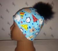Зимней расцветки шапочка без завязок с помпонами: -черный -темно-синий -корич. Херсон, Херсонська область. фото 6