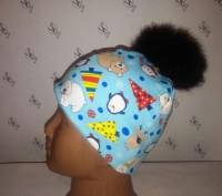 Зимней расцветки шапочка без завязок с помпонами: -черный -темно-синий -корич. Херсон, Херсонська область. фото 5